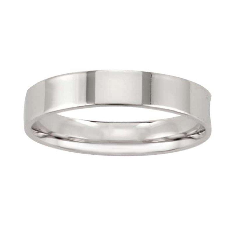 Argolla de Matrimonio de Oro Blanco de 14k de 4 mm