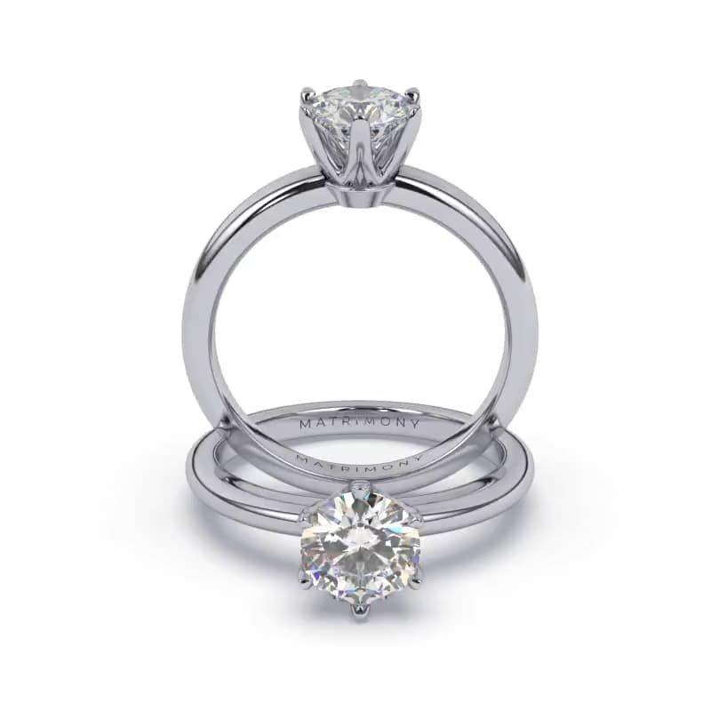 Disfruta de la belleza de la simplicidad y elegancia atemporal con este anillo de compromiso en solitario. La piedra principal se encuentra elegantemente sostenida por un engaste clásico de 6 uñas. Sofisticado y refinado, este anillo de compromiso se encuentra disponible en oro de 9k, 14k, 18k y platino.