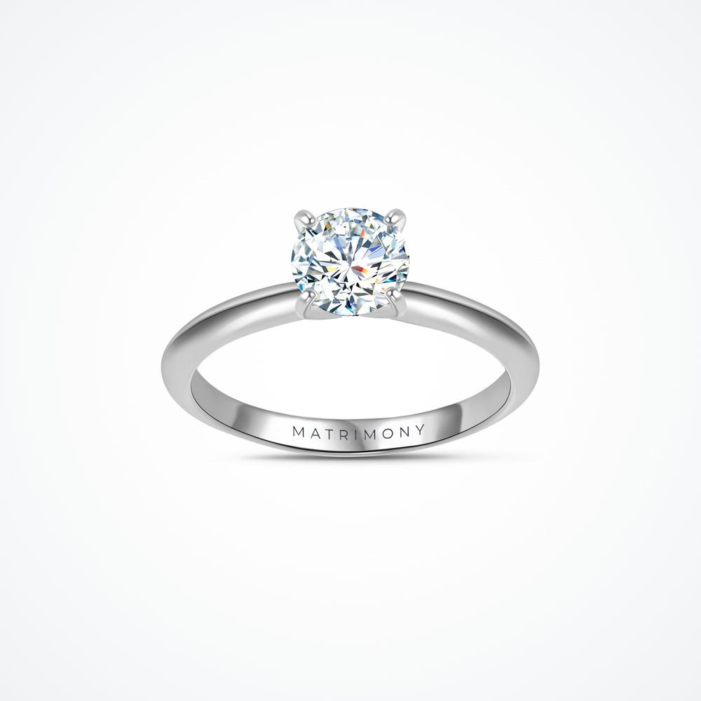 Anillo de compromiso de solitario con diamante principal redondo con 4 uñas