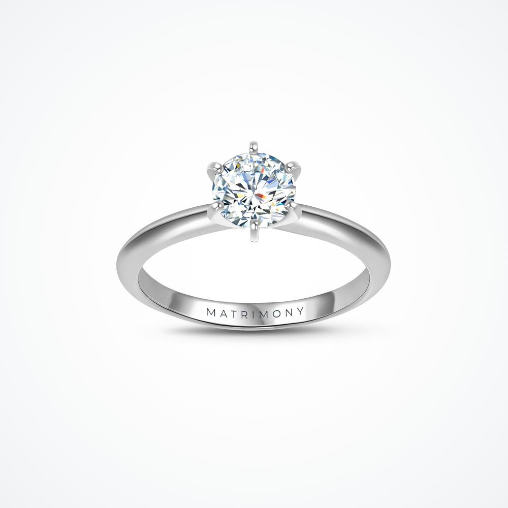Anillo de compromiso de solitario con diamante principal redondo con 6 uñas