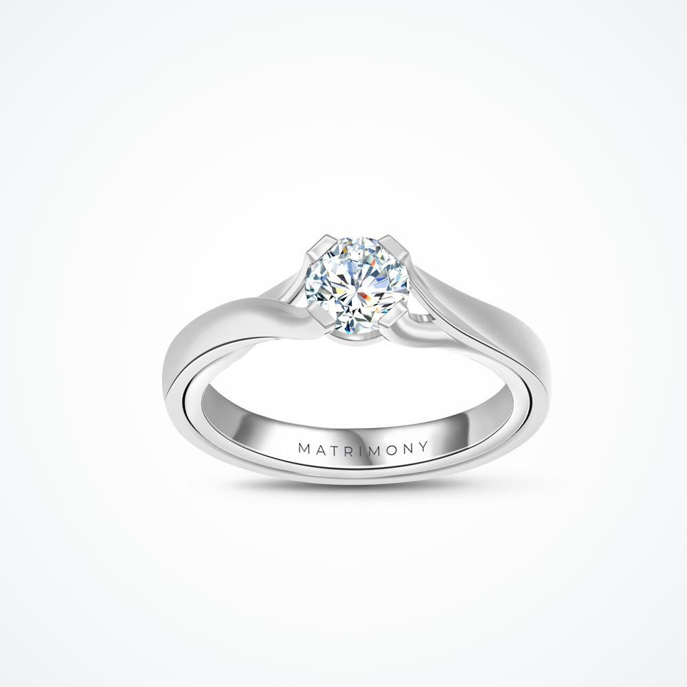 Anillo de compromiso de solitario con diamante principal redondo con combinación de textura mate y brillante