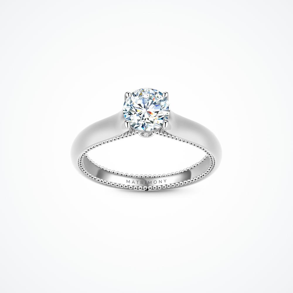 Anillo de compromiso de solitario con diamante principal redondo e incrustación de diamante