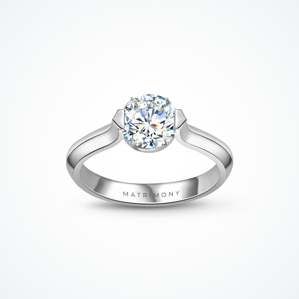 Anillo de compromiso de solitario geométrico con diamante principal redondo