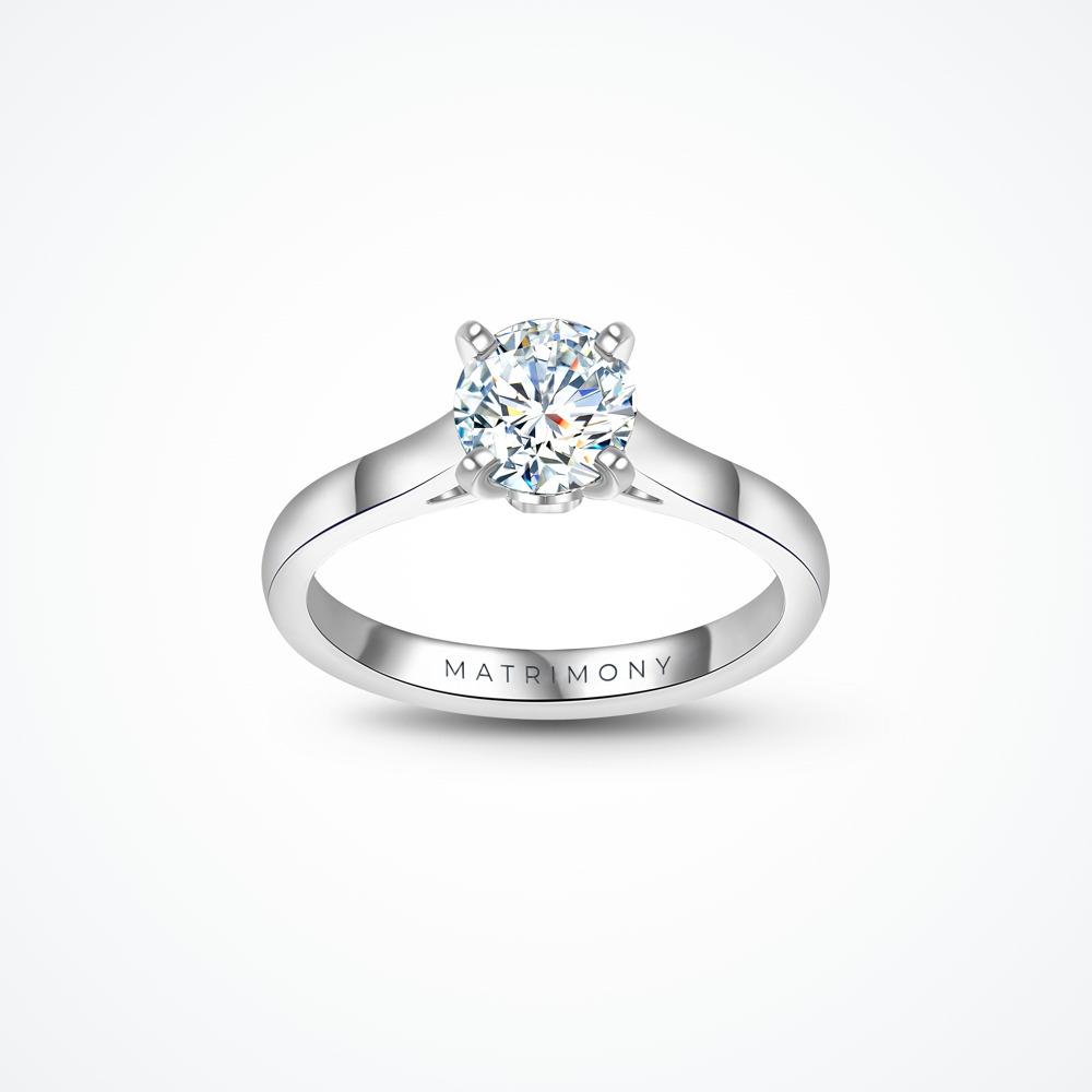 Anillo de compromiso de solitario grueso con diamante principal redondo