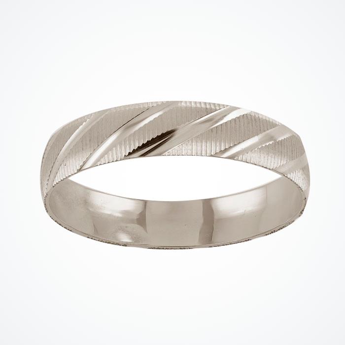 Argolla de Matrimonio de Oro Blanco de 10k de 4 mm