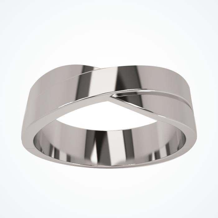 Argolla de Matrimonio de Oro Blanco de 14k de 6 mm
